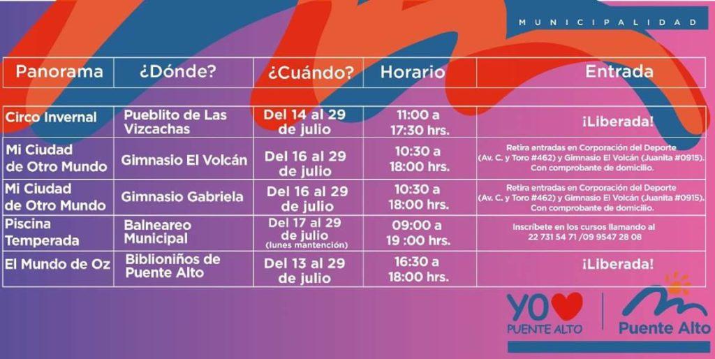 Vacaciones de Invierno entretenidas en Puente Alto